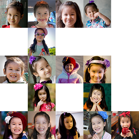 Photo collage of Violet in the shape of the Chinese character for five.