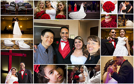 Collage of Lamont and Maria's wedding photos