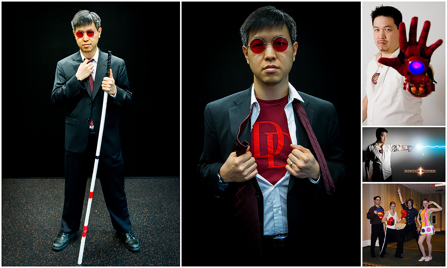 Collage of my superhero alter-ego costumes: Matt Murdock (Daredevil), Tony Stark (Iron Man), and Clark Kent (Superman)