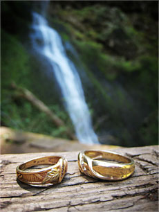 Our wedding rings at Winter Falls