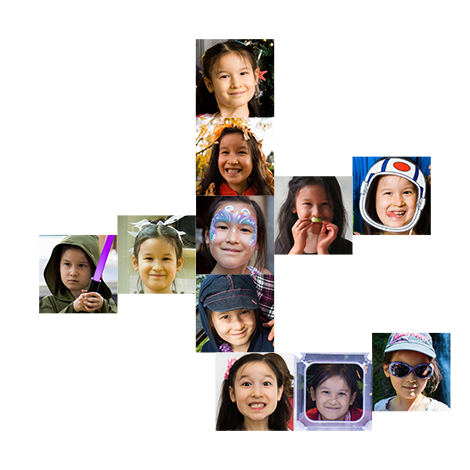 Collage of Violet photos in the shape of a Chinese character seven