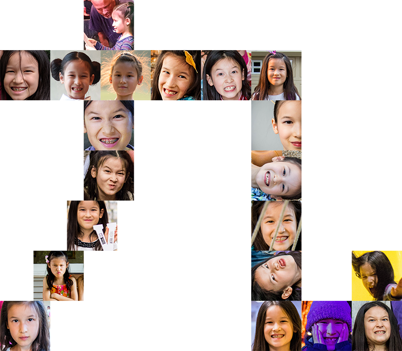 Collage of Violet photos in the shape of a Chinese character nine